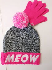Girls sock hats Girls gloves Meow Beanie cap Joy Sock hat Pinks Purples Age 7-14