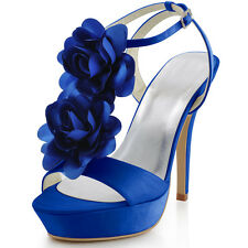 Women High Heel Platform Flowers T-Strap Pumps Satin Wedding Party Sandals Shoes