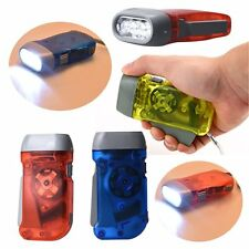 3 LED Dynamo Wind Up Flashlight Torch Light Hand Press Crank NR Camping SY