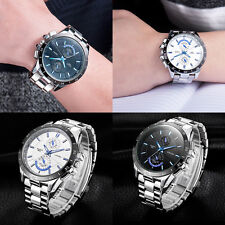 New Fashion Mens Stainless Steel Waterproof Date Sport Analog Quartz Wrist Watch