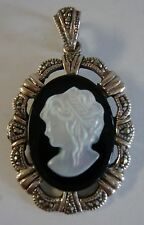 Vintage Sterling Silver & Marcasites Mother Of Pearl Carved Cameo Pendant 4.7g