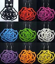 New Color Paint Wood Carve Rose Korean Fashion Style Women Ladies Dangle Earring