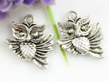 Wholesale 10/20/30pc lovely double side owl Tibet silver Charm Pendant 20x17mm