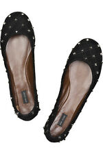 MARC JACOBS Black Suede Quilted Studded Sexy Flats Shoes EU 40.5 US 9.5