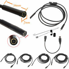 2/5/7/10/15m 6LED USB Waterproof Endoscope Borescope Snake Inspection Camera 7mm