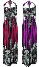 Womens Sequin Glitter Floral Print Stylish Border Ladies Halter Neck Maxi Dress