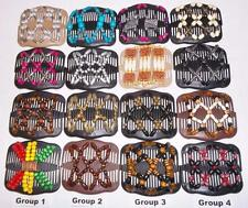 Double Magic Hair Combs, African Style Butterfly Clips, MultiColor Beads, SG