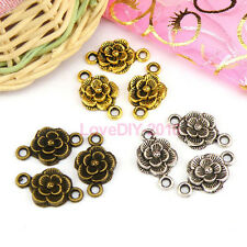 20Pcs Tibetan Silver,Gold,Bronze Flower Charm Pendants Connectors DIY M1134
