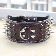 "3"" Brown Leather 4 Rows Spiked Studded Dog Collar Pitbull Bully Boxer Terrier"