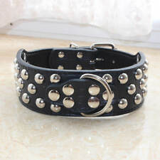 Croc Black Leather Studded Dog Collars Large Dog Pit bull Terrier Bully Boxer