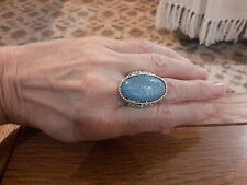 BRAND  NEW SILVER RING WITH A LARGE PALE BLUE  STONE  SIZE T WITH GIFT BOX
