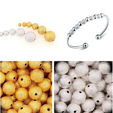 Silver/Gold Plated Round Spacer Loose Beads Charms Findings 3/4/6/8/10mm
