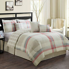 NEW Full Queen King Bed Pink Gray Taupe Ivory Plaid Reversible 7pc Comforter Set