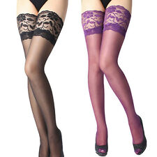 Sexy Womens Lady Lace Top Silicone Band Stay Up Thigh High Stockings Pantyhose
