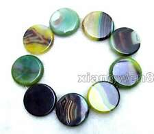 """SALE Big 40mm Round Green Multicolor Striped Agate Loose Beads Strand 15""""-los664"""