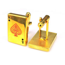 Golden Bronze Ace of Spades Playing Card Poker Cufflinks - UK Seller