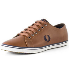 Fred Perry Kingston Mens Trainers Tan Leather New Shoes