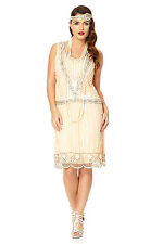 Charleston 20s Vintage Inspired Art Deco Flapper Dress Nude Blush Plus Size