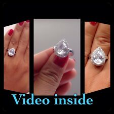 4.+CT Pear Cut Fine Jewelry Fine Rings Other Fine Rings St Silver Italy LUXE8J*