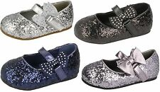 GIRLS SPOT ON FLAT PARTY GLITTER SPARKLY PARTY BRIDESMAIDS BOW SHOES H2305