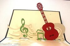 15cm x 10cm 3D Pop Up Guitar Greeting Card, Blue or Red Cover, Any Occasion