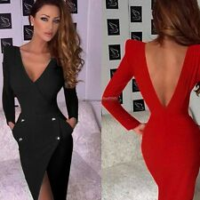 New Women Casual Sexy Irregular Deep V-Neck Bodycon Long Sleeve Slim Dress NC89
