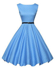 Fashion Womens 1950s Sleeveless Light Blue Polka Dot Prom Cocktail Pleated Dress