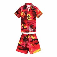Boy Toddler Aloha Shirt Set Shorts Beach Hawaii Cruise Luau Cotton Red Sunset