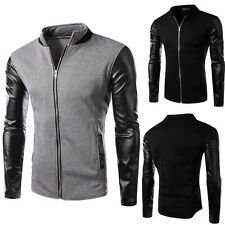 New Korean Men's Stylish Slim Fit PU Leather Splicing Jackets Coats Tops Outwear
