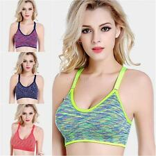 New Sports Bra Gym Workout Yoga Fitness Tank Top Racerback Breathable Seamless