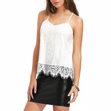 Summer Womens Sexy Lace Loose Casual Tank Tops Blouse Sleeveless T-Shirt AU