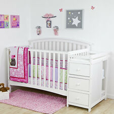 Crib With Changer Combo Convertible 5 In 1 Nursery Baby Toddler Bed White