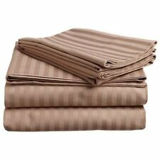 New Deluxe 1PCs 100% Egyptian Cotton Fitted Sheet 800TC Fit Pocket Striped Taupe