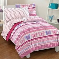 NEW Twin Full Bed Pink Butterfly Polka Dots 7 pc Girls Comforter Sheets Set NWT