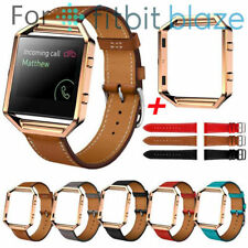 Luxury Leather Wrist Watch Strap Band + Metal Frame For Fitbit Blaze Watch