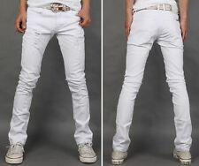 New Mens Slim Fit Skinny Stretch White Jeans Pants Trousers Ripped