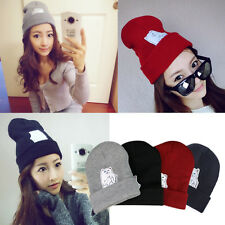 Newest Hip Hop Cat Pattern Woman/Man's Beanies Unisex Winter knit wool cap Hats