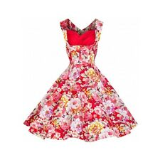 Lindy Bop Ophelia Red White Floral Spring Garden Party Picnic Vintage Dress 10