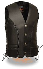 MEN'S MOTORCYCLE BRAID BUFFALO NICKLE BUTTONS LACE SIDE VEST WITH 2 GUN POCKETS