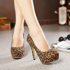 Leopard Pattern Suede Nice Women's Shoes Elegant Platforms Slim High Heels Pumps