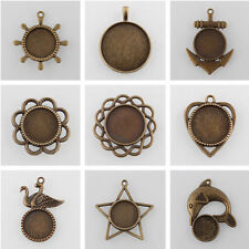 10pcs Vintage Alloy Pendant Cabochon Base Settings Antique Bronze Round Tray DIY