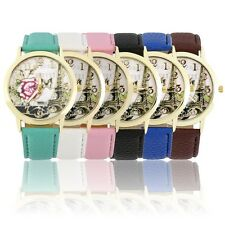Round Dial Rose Eiffel Tower Pattern Lady PU Leather Band Quartz Wrist Watch ##