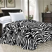 NEW Twin Queen Size Bed Black White Zebra Animal Print Warm Fleece Blanket NWT