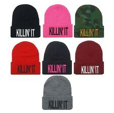 Unisex Women Men's Winter Cuffed Beanie Hat KILLIN IT Hip Hop Knit Ski Skull Cap