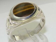Solid 925 Sterling Silver Natural Tigers Eye Mens Signet Ring