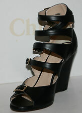 $1050 NIB CHLOE STRAPPY SANDALS BLACK LEATHER WEDGE HEEL SHOES  5.5 6.5  8.5