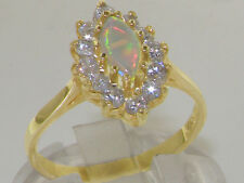 Solid 925 Sterling Silver Natural Colorful Opal & Diamond Cluster Ring