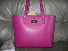 MICHAEL KORS JET SET TRAVEL SM FUSCHIA LEATHER TOTE HANDBAG PURSE $228 NWT