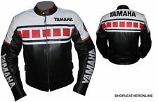 Mens Red Black White Yamaha Racing Biker Motorcycle Leather Jacket XS to 6XL
