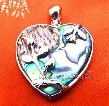SALE Big 30*40mm Natural Blue Multicolor Heart abalone shell pendant - pen85